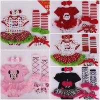 0-1 Yrs Baby Girl Christmas Gift Clothing Sets Super Cute Romper Dress+stockings+Shoes+Headband 4pcs Sets 5 Designs