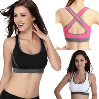 Women Sexy Running Yoga Seamless Racerback Back Cross Sports Bra Half-length Underwear Fitness Clothes Tennis Vest CamisoleNB125