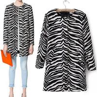 2014 Women coat winter New women winter clothing European zebra stripes Cashmere Mid pattern cadiganouter OL wool overcoat WC060
