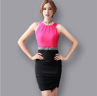 Korean Style Womens Fashion Dress Patchwork Sundress Sleeveless Party Dress for Dating 2014