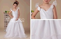 White A-line V-neck Taffeta Floor Length Flower Girl Dress