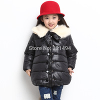 Free shipping2014 wholesale,korean style double-breasted fashion heavy hair collar,girls' Cotton-padded clothes ATZ086