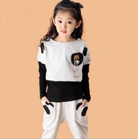 Retail Autumn Girls' Sets Long Sleeves Panda Children Set Clothing Kids Warm Suit  Long Shirt+pants  2Colors AB358
