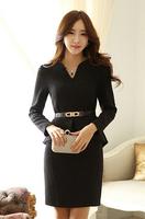 new 2014 autumn winter fashion women elegant Business attire office clothing hot women's slim long sleeve plus size dress fw-140