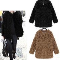 New 2014 Fall Winter Women Faux Fur Coats Fashion Cotton Zipper Long Sleeve Faux Fur Women Jackets Casual Women Coats