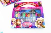 Hot Sale new style 1pcs frozen Colour pen brush 12 color crayons  Children painting with pen best school supplies for children
