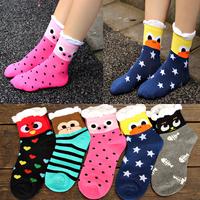 2014 Winter Harajuku socks Three-dimensional Cartoon socks coral velvet flower edge Women 3D Socks