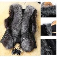 2014 Winter Fashion  Faux Leather Black Jacket Women Sleeveless Warm V-Collar Long Waistcoat Mex OverCoat Faux Fur Vest nz194