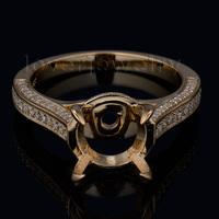 New Romantic Engagement Round 10x10mm 18kt Yellow Gold Diamond Semi mount Ring SR00150