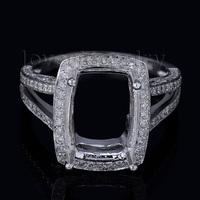 2014 Early Autumn New Cushion 9x12mm 18K White Gold Diamond Semi Mount Engagement Ring WU039