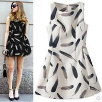 2014 New Fashion High Top Temperament Elegant Feather Print A-Line skirt Sleeveless Vest Dress Female Sweet Cute 31344