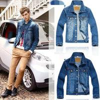 2014 Man jecket Men Coat Denim jecket fashion slim Jean coat Spring&Fall turn down collar single breasted outwaer for boys MC001