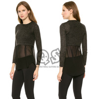 2014 New Autumn Sexy Full Sleeve O-neck Solid Lace Hem Women Pullover Sweater Free Shipping X367