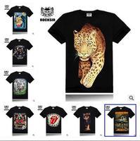 2014 New Men's Fashion brand Cotton 3D thin fitness  Hip hop  club t-shirt O-neck Short Sleeve sport casual t-shirt S-XL size