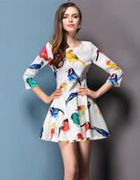 2014 New Arrive Autumn Dress Casual Dress Women Office Dress  Desigual 2 Colro Plus Size Drop Shipping A01