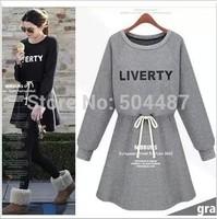 European Style O-neck Full Sleeve Empire Sashes Casual Dress Free Shipping 2014 New Autumn Gray Black S,M,L,XL 21210
