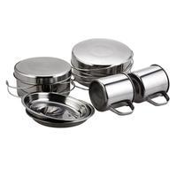 8pcs Outdoor Camping Hiking Cooking Cookware Backpacking Picnic Pot Pan Cup Set