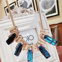 Korean fashion women long crystal necklace female short paragraph elegance necklace