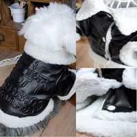 Punk Style FAUX LEATHER Black Dog Coats Jackets Fleece Pet Apparel Dog Clothes XS S M L XL