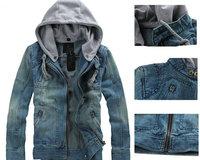 New Spring&Fall 2014 men jecket Coat Hot Sale Korean Fashion hooded Denim jecket Casual Man Jacket Slim zipper Jean wear MC002