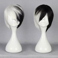 New Half Black Half White Short Wig Anime Cosplay Cruella DeVille Wig cos Kanekalon fibre no Lace Front Wigs Free deliver