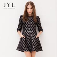2014 Autumn/Winter JYL dress with long sleeve,vintage 60s Pop Art patterns polka dot dress,high street high waist dress women