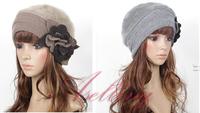 (64-056) Womens Winter Rabbit Fur Wool Flower Trim Beanie Cap Dress Crochet Beret Hat