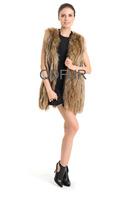 2014 Genuine Whole-hide Raccoon  Fur Vest Waistcoat Winter Women Fur Gilet Outerwear Coats QD70727