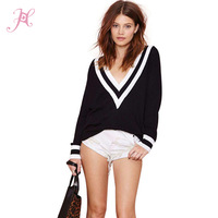 2014 Brand Sweater Women Black White Thread Patchwork Deep V Naval Long Sleeve Knitted Casual Pullovers Sweater in Euro Style