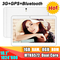 "Promotion 10"" Gps tablet pc 1024x600 TN Screen MTK6572 dual Core 1G RAM 8G ROM WCDMA 3G dual sim with bluetooth dual camera"