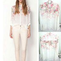 Free shipping 2014 Fashion Women Chiffon Blouses Women Flower Print Lapel Casual Chiffon Long Sleeved Shirts Women TopsS-XL