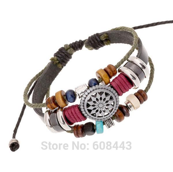 Ba151 ручной работы полые круг подвески натуральная кожа регулируемый браслет браслет ювелирные изделия день святого валентина подарок мужчины женщина