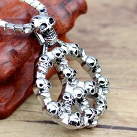 Fashion skeleton pendant necklace stainless steel skull head pendant  for men women unisex jewelry