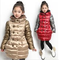 Winter 2014 new children's clothing for girls plus velvet hooded coat thick padded jacket coat Children