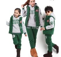New Arrival 2014 Autumn Winter Children's Kids Clothing Baby Boy/girls Sports Suit Sweater Coat & pants 3 Pcs Clothing Sets