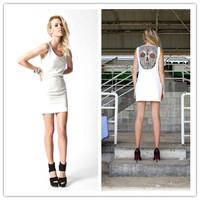 2014 Trendy Premonition Movie Star Celeb Dresses Ladies Open Back Skull Lace Mini Dress Hot Selling Plus Size Sundress AY851979