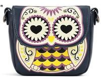 2014 bags cartoon owl print messenger bag small  fashion women leather handbag cartoon owl fox shoulder bags messenger handbags