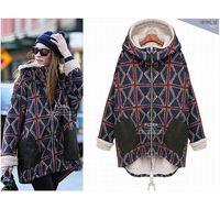 New winter plus size velvet warm plaid coat  long sleeve casual cotton jacket free shipping