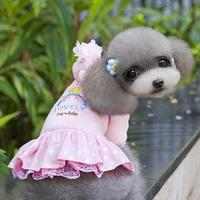 Trendy Pet Dog Cat Floral Hoodie Clothes Coat Sweater Jacket Dots Lace Dress