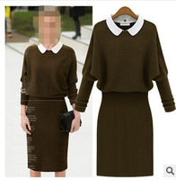 NEW WOMEN'S AUTUMN&WINTER HIP PACKED SEXY SLIM  DRESS PETER PAN COLLAR ARMY GREEN KNITTED BLUE SLIM CUTE BACKING DRESS S,M,L,XL