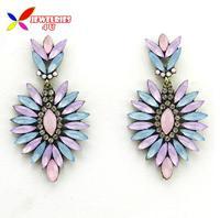 2014 stone earrings fashion vintage beautiful Purple Blue Faux stone rhinestone statement ear drop earrings for women brincos