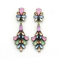 2014 beautiful earrings fashion vintage bronze alloy Pink Green Faux stone statement ear drop earrings for women brincos bijoux