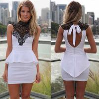 Scolour Sexy White Lace Sleeveless Clubwear Party Bodycon Women Dress Freeshipping