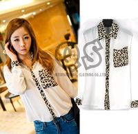 New fashion leopard pocket patchwork chiffon long sleeve women blouse & shirts sexy autumn woman tops blusas Q121