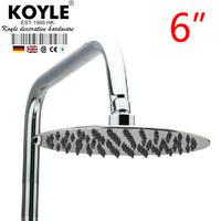 """KOYLE - 6"""" Round stainless steel ultra-thin showerheads shower head chuveiro chuveiros rain shower ducha power torneira"""
