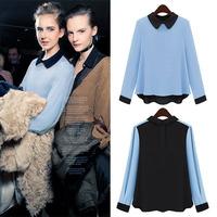 New Ladies Long Sleeve Chiffon Shirt Blouse Button Cuff Ruffle Tops Doll Collar