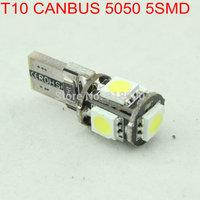 Hot!! 100pcs/Lot T10 5050 5 SMD W5W 194 Canbus Car LED Light 5 LED 5050 NO OBC ERROR White 12V Interior Car Bulbs Light Source