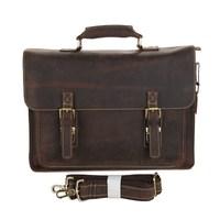7205R J.M.D Crazy Horse Leather Men's Brown Shoulder Messenger Bag Briefcases