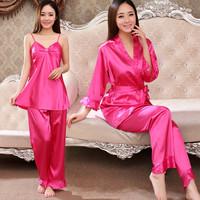 Genuine silk pajamas women spring and summer silk three-piece silk casual long-sleeved tracksuit set