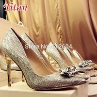 2014 Autumn shinny women diamond silver glitters pointed toe metallic high heeled dress shoes pump bridal wedding shoes 10CM